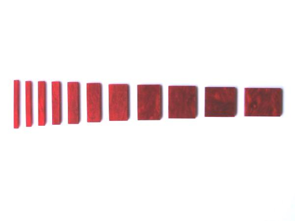Marcações (dots) para braço retangular (Padrão 1) - Acrílico vermelho perolado (2mm) (Pacote com 11 un)  - Luthieria Brasil