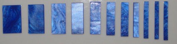 Marcações (dots) para braço retangular (Padrão 2) - Acrílico azul perolado (2mm) (Pacote com 11 un)  - Luthieria Brasil