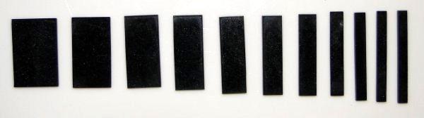 Marcações (dots) para braço retangular (Padrão 2) - Acrílico preto perolado (2mm) (Pacote com 11 un)  - Luthieria Brasil