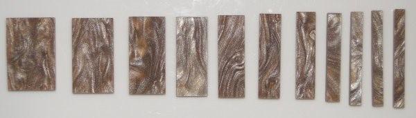 Marcações (dots) para braço retangular (Padrão 2) - Acrílico caramelo perolado (2mm) (Pacote com 11 un)  - Luthieria Brasil