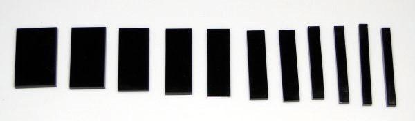 Marcações (dots) para braço retangular (Padrão 2) - Acrílico preto (3mm) (Pacote com 11 un)  - Luthieria Brasil
