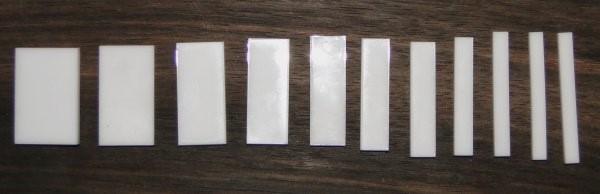Marcações (dots) para braço retangular (Padrão 2) - Acrílico branco (3mm) (Pacote com 11 un)  - Luthieria Brasil