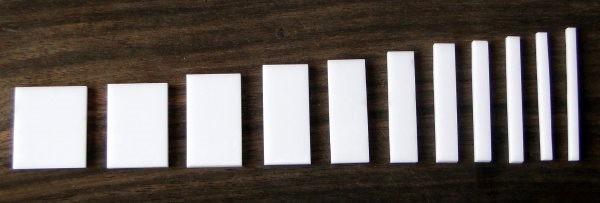 Marcações (dots) para braço retangular (Padrão 3) - Acrílico branco (3mm) (Pacote com 11 un)  - Luthieria Brasil