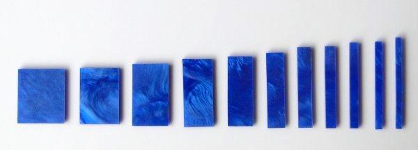 Marcações (dots) para braço retangular (Padrão 3) - Acrílico azul perolado (2mm) (Pacote com 11 un)  - Luthieria Brasil