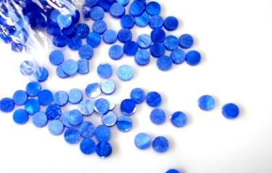 Marcações (dots) redondas para braço - Acrílico azul perolado - 7mm x 2mm (Pacote com 12 un)  - Luthieria Brasil