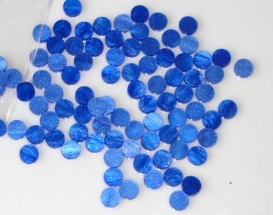 Marcações (dots) redondas para braço - Acrílico azul perolado - 8mm x 2mm (Pacote com 12 un)  - Luthieria Brasil