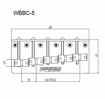 Ponte Dourada para baixo 05 cordas - 18mm - Wilkinson by Sung il (WBBC5)  - Luthieria Brasil
