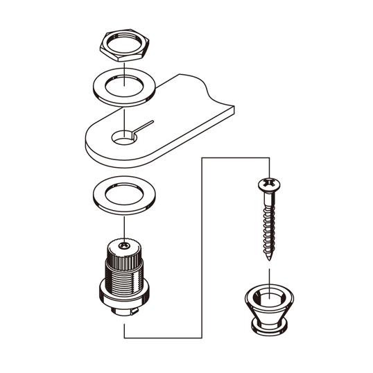 Strap Lock cromado para guitarra/baixo - Kit com 2 unidades - Gotoh (GOT-EPR-2CR)  - Luthieria Brasil