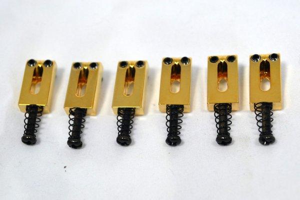 Carrinhos (saddles) dourados para guitarra - Espaçamento 10.5mm - Kit com 6 peças - Sung Il (PS001)  - Luthieria Brasil