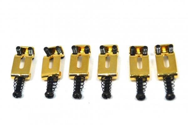 Carrinhos (saddles) dourados modelo vintage para guitarra Strato - Espaçamento 10.8mm - Kit com 6 peças - Sung Il (PS007GD)  - Luthieria Brasil