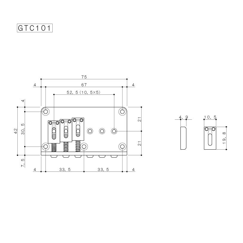 Ponte Cosmo Black Fixa para guitarra - Gotoh (GTC101-CK)  - Luthieria Brasil