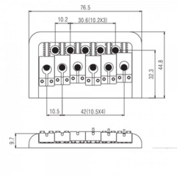 Ponte Cromada Fixa para guitarra (Estilo PRS) - Sung il (BN101)  - Luthieria Brasil