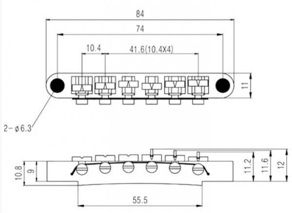Ponte Cromada para guitarra Les Paul - Sung-il (BM002)  - Luthieria Brasil