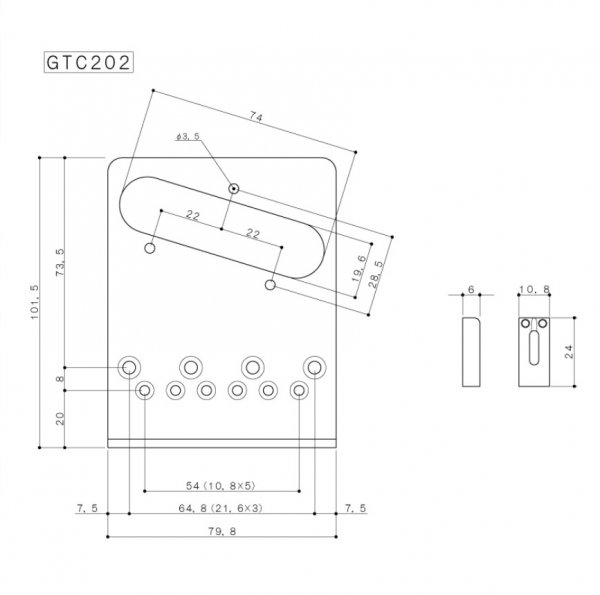 Ponte Dourada estilo Telecaster c/ 6 carrinhos (Moderna) para guitarra -  Gotoh (GOT-GTC202-GD)  - Luthieria Brasil