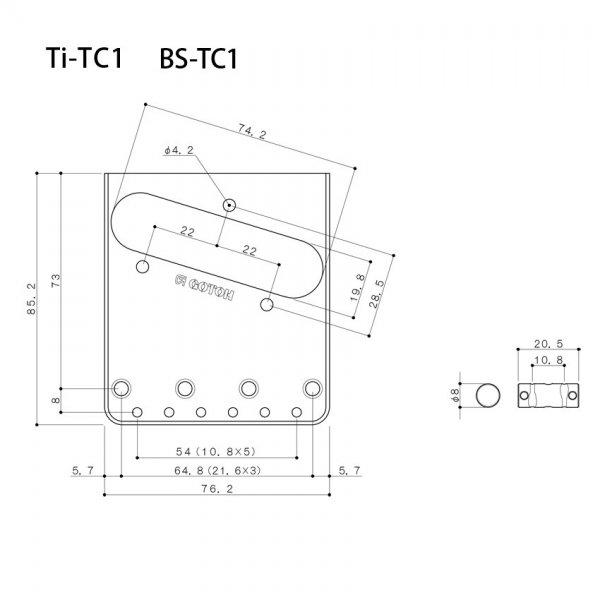 Ponte Níquel estilo Telecaster Vintage (3 carrinhos) para guitarra - Linha Titanium -  Gotoh (TI-TC1-N)  - Luthieria Brasil