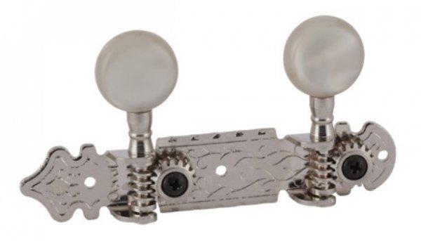 """Tarraxa Cromada """"Luxo"""" pino grosso com botão branco perolado  para cavaco - Deval (Modelo 105)  - Luthieria Brasil"""