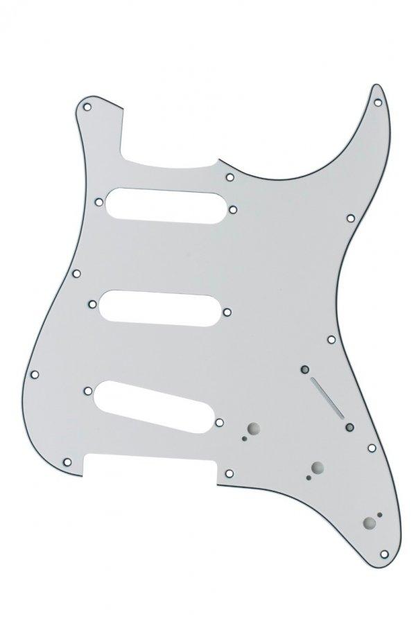 Escudo para Guitarra Stratocaster SSS Branco - 3 camadas (sanduíche) - Dolphin  - Luthieria Brasil