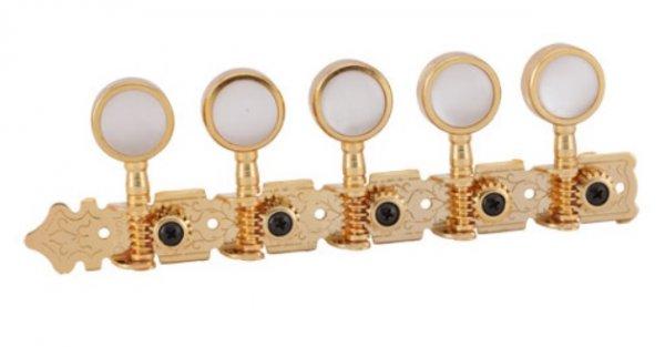 """Tarraxa Dourada """"Gold""""  pino grosso com botão branco perolado para viola - Deval (Modelo 520)  - Luthieria Brasil"""