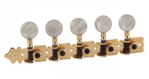 """Tarraxa Dourada """"Export"""" pino fino com botão branco perolado para viola - Deval (Modelo 508)  - Luthieria Brasil"""