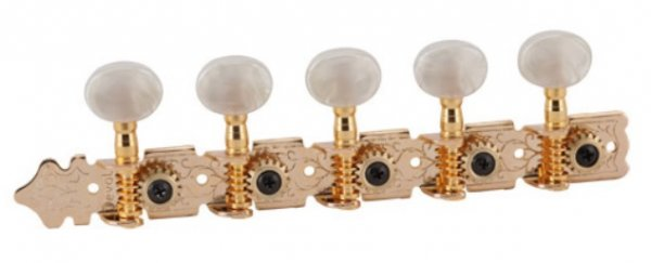 """Tarraxa Dourada """"Econômica"""" pino grosso com botão branco perolado para viola - Deval (Modelo 502G)  - Luthieria Brasil"""