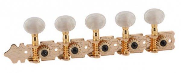"""Tarraxa Dourada """"Econômica"""" pino fino com botão branco perolado para viola - Deval (Modelo 501G)  - Luthieria Brasil"""