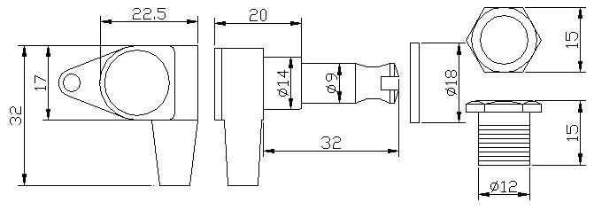 """Tarraxa Preta blindada """"em linha"""" para baixo - jogo 4 peças - Der Jung (DJ242-L)  - Luthieria Brasil"""
