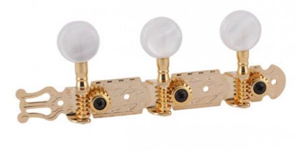 """Tarraxa dourada """"Super Luxo"""" pino fino/folk com botão branco perolado para violão 6 cordas  - Deval (Modelo 209)  - Luthieria Brasil"""