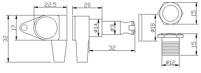 """Tarraxa Dourada Blindada """"em linha"""" para baixo - jogo 4 peças - Der Jung (DJ242-L)  - Luthieria Brasil"""