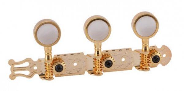 """Tarraxa dourada """"Gold"""" pino grosso com botão branco perolado para violão 6 cordas - Deval (Modelo 220)  - Luthieria Brasil"""