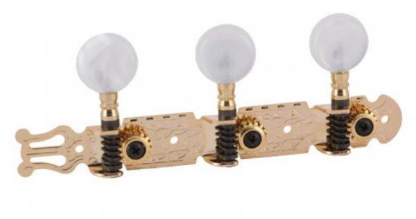 """Tarraxa dourada """"Export"""" pino grosso com botão branco perolado para violão 6 cordas - Deval (Modelo 230)  - Luthieria Brasil"""