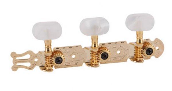 """Tarraxa dourada """"Internacional"""" pino fino com botão branco perolado para violão 6 cordas - Deval (Modelo 204)  - Luthieria Brasil"""