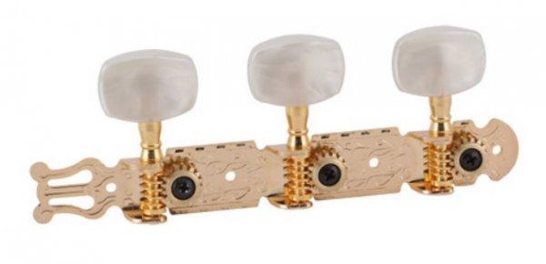"""Tarraxa dourada """"Econômica"""" pino grosso com botão branco perolado para violão 6 cordas - Deval (Modelo 202G)  - Luthieria Brasil"""