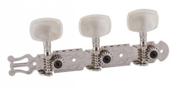 """Tarraxa cromada """"Standard"""" pino grosso com botão branco perolado para violão 6 cordas - Deval (Modelo 202)  - Luthieria Brasil"""