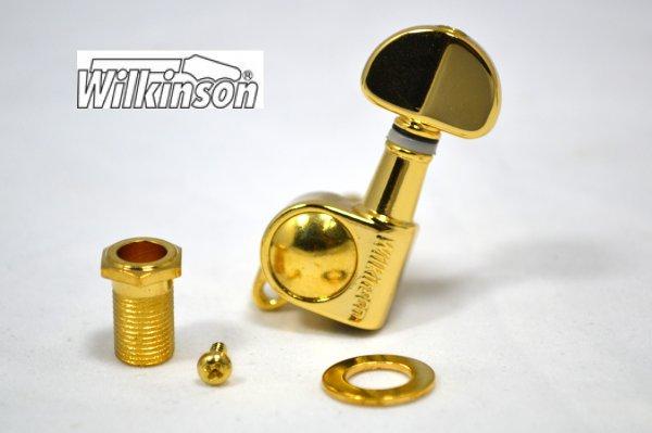 """Tarraxa Dourada Blindada """"reversa"""" botão """"Groover"""" para guitarra - jogo 6 peças - Wilkinson (WJ703-R)  - Luthieria Brasil"""
