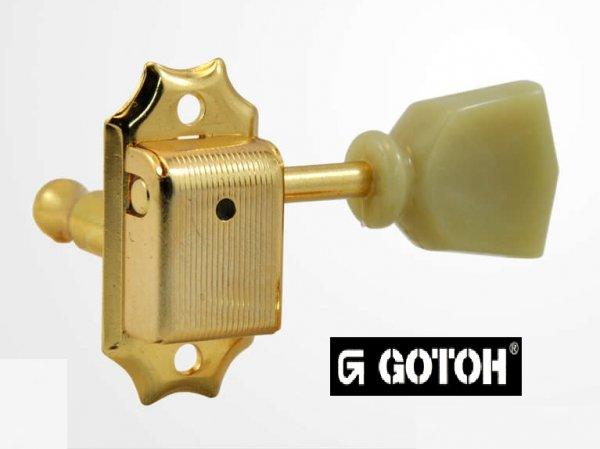 """Tarraxa Dourada """"3+3"""" botão tulipa esverdeado c/ trava para guitarra - jogo 6 pçs - Gotoh (GOT-SD90SL-MG-GD)  - Luthieria Brasil"""