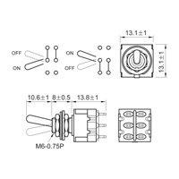 Chave mini controle DPDT para defasagem de captadores de guitarra - 6 polos e 2 vias - Níquel - Spirit (M205-NI)  - Luthieria Brasil