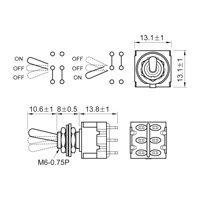 Chave mini controle on-off-on para guitarra ou baixo - 6 polos e 3 vias - Níquel - Spirit (M203-NI)  - Luthieria Brasil