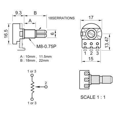 Potenciometro Spirit (eixo longo/base pequena) Linear Taper p/ Circuito Ativo de guitarra/baixo B50k  - Luthieria Brasil