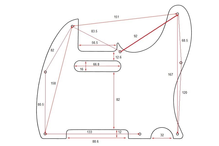 Escudo para Guitarra Telecaster Branco Perolado - 3 camadas (sanduíche) - Spirit (X310)  - Luthieria Brasil