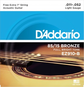 Encordoamento D?Addario EZ910-B Bronze 85/15 Light 11-52 C/ CORDA MI EXTRA (.011)  - Luthieria Brasil