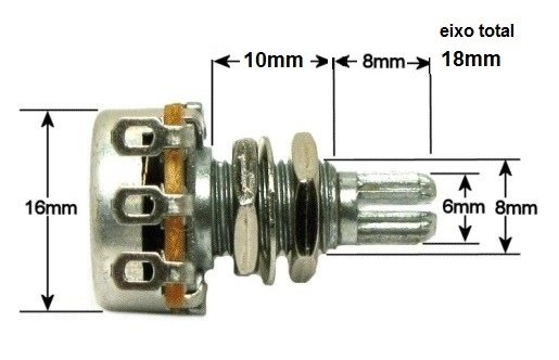 Potenciometro (eixo longo/base pequena) para guitarra/baixo B50k   - Luthieria Brasil