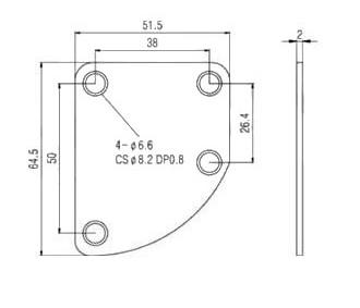 Neck Plate curvo cromado para guitarra/baixo + 4 parafusos (42mm x 4,2mm)  - Luthieria Brasil