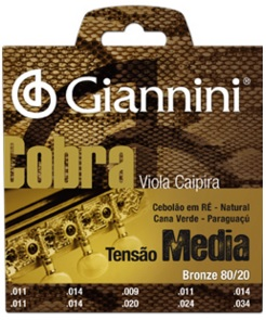 Encordoamento Giannini CV82M Série Cobra (Bronze 80/20) para Viola Caipira (Tensão Média)  - Luthieria Brasil