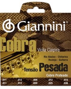 Encordoamento Giannini GESVP Série Cobra (Cobre Prateado) para Viola Caipira (Tensão Pesada)  - Luthieria Brasil