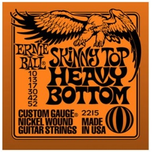 Encordoamento para guitarra Ernie Ball Skinny Top Heavy Bottom  2215 10-52 (.010)  - Luthieria Brasil
