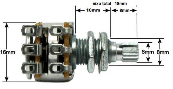 Potenciometro para baixo MN100k (C/ Center Click)  - Luthieria Brasil