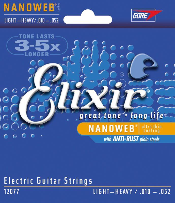 Encordoamento para guitarra Elixir Light Heavy 10-52 (.010)  - Luthieria Brasil