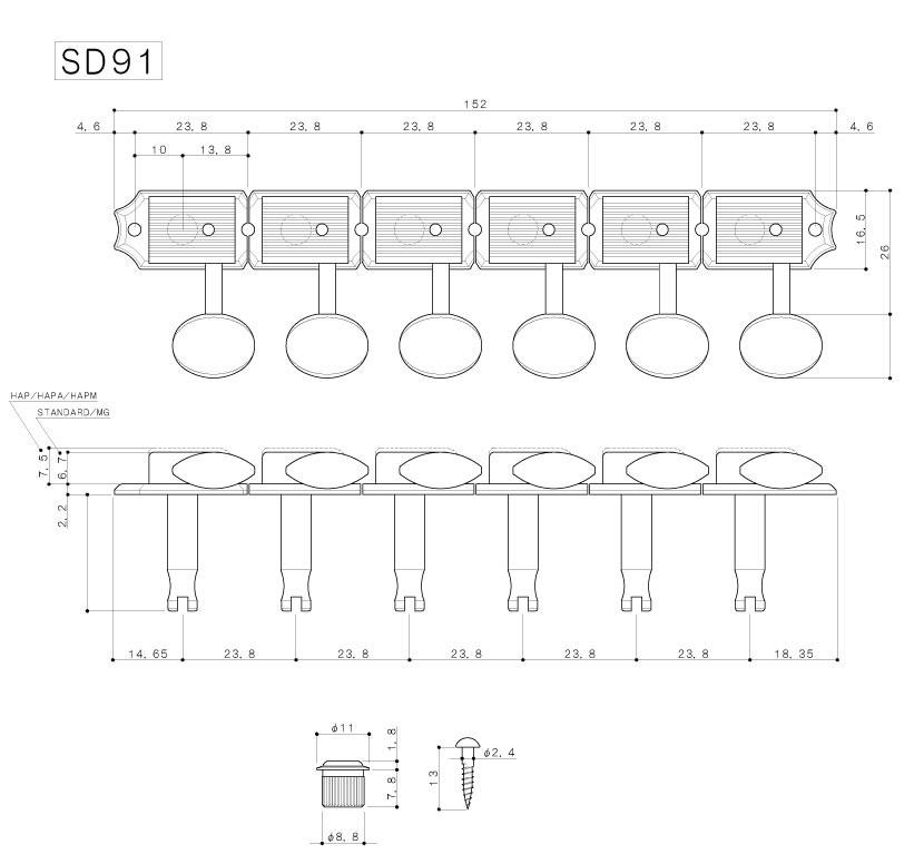 """Tarraxa Dourada """"em linha"""" Vintage c/ trava para guitarra - Jogo 6 peças - Gotoh (SD91-05M-6L-MG)  - Luthieria Brasil"""