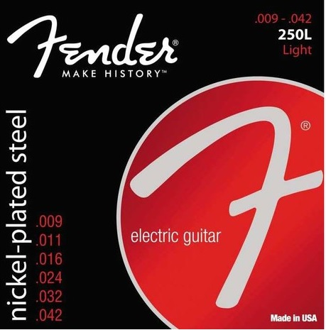 Encordoamento para guitarra Fender 250L Nickel-Plated Steel 09-42 (.009)  - Luthieria Brasil