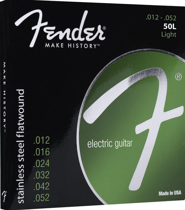 Encordoamento para guitarra Fender 50L Stainless Steel Flatwound 12-52 (.012)  - Luthieria Brasil